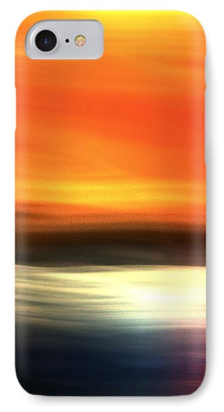 IPhone Case featuring the mixed media Orange Black Blue by Terence Morrissey
