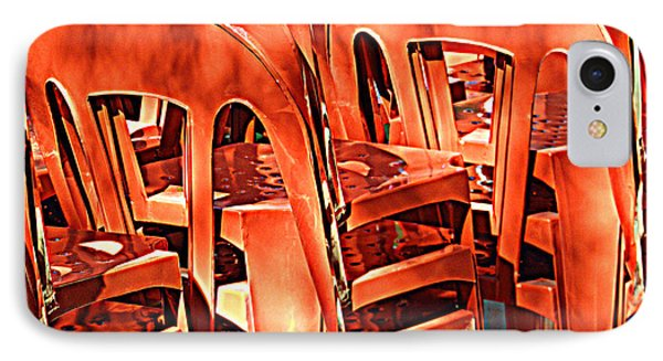 Orange Chairs IPhone Case by Valerie Reeves