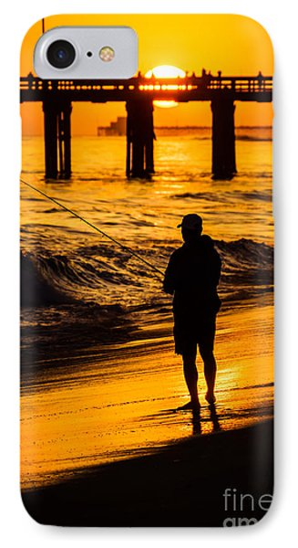 Orange County California  Sunset Fishing Picture IPhone Case by Paul Velgos