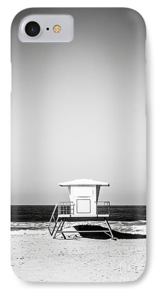 Orange County Lifeguard Tower Black And White Picture IPhone Case by Paul Velgos