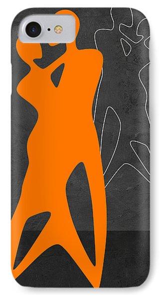 Orange Couple Dancing IPhone Case by Naxart Studio