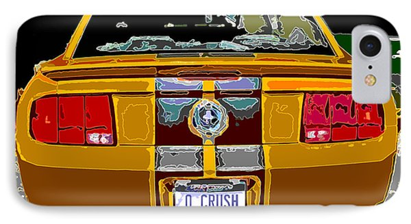 IPhone Case featuring the photograph Orange Crush Mustang Rear View by Samuel Sheats
