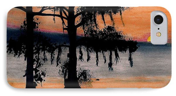 IPhone Case featuring the drawing Orange Cypress Sunset by D Hackett