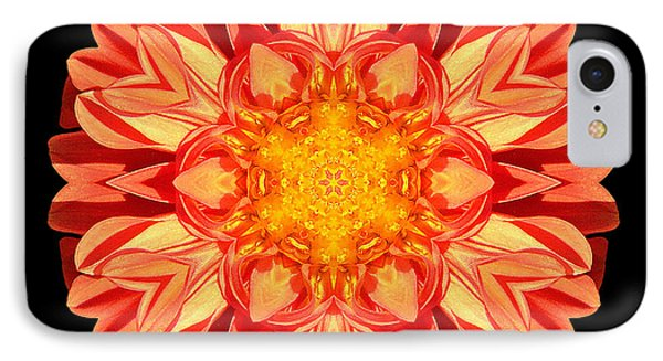 Orange Dahlia Flower Mandala Phone Case by David J Bookbinder