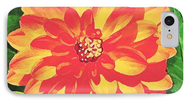 IPhone Case featuring the painting Orange Dahlia by Sophia Schmierer