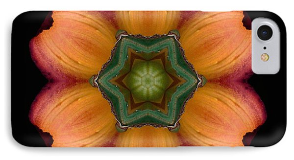 IPhone Case featuring the photograph Orange Daylily Flower Mandala by David J Bookbinder