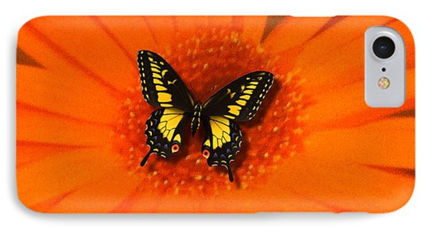 Orange Flower And A Butterfly By Saribelle Rodriguez IPhone Case by Saribelle Rodriguez
