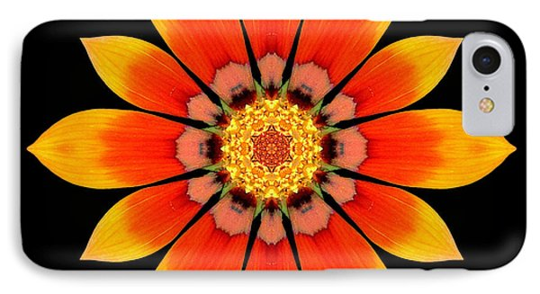 Orange Gazania I Flower Mandala Phone Case by David J Bookbinder