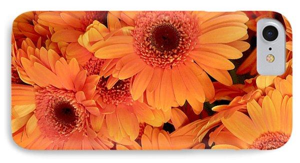 Orange Gerbera Daisies Phone Case by Art Block Collections