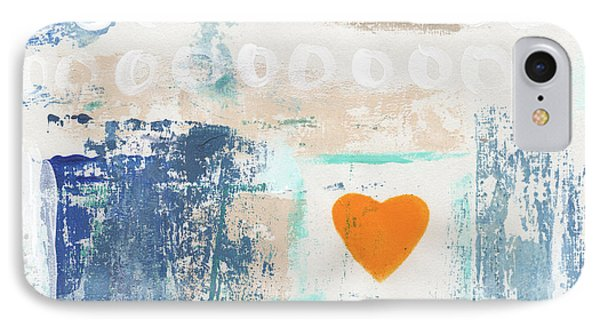 Orange Heart- Abstract Painting IPhone Case by Linda Woods