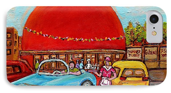 Orange Julep With Girl On Rollerblades Paintings Of Montreal Landmarks Diner Carole Spandau IPhone Case by Carole Spandau