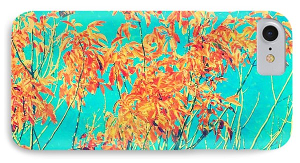 Orange Leaves And Turquoise Sky  IPhone Case by Elizabeth Budd