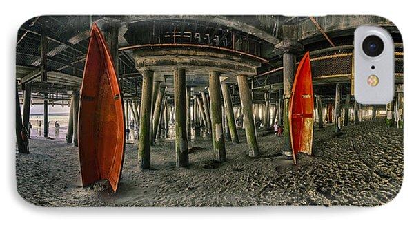 Orange Life Boats Under The Santa Monica Pier IPhone Case