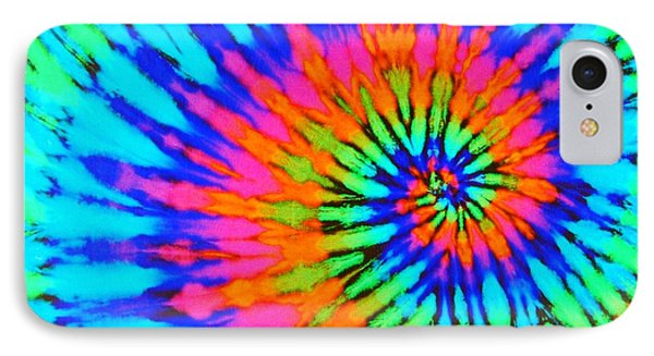 Orange Pink And Blue Tie Dye Spiral IPhone Case by Catherine Sherman