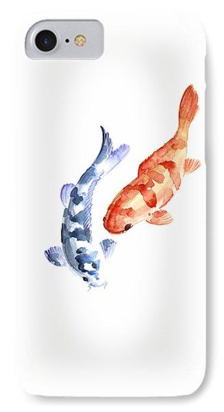 Orange Red Blue Fish Pisces Koi Carp Zodiac Ocean Animal World Water Colors Watercolors Painting IPhone Case