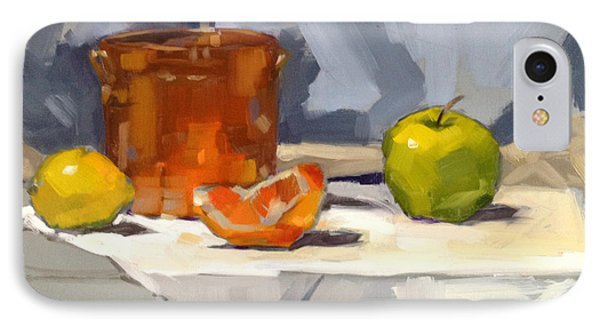 IPhone Case featuring the painting Orange Reflections by Nancy  Parsons