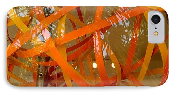 Orange Ribbons IPhone Case by Peggy Stokes