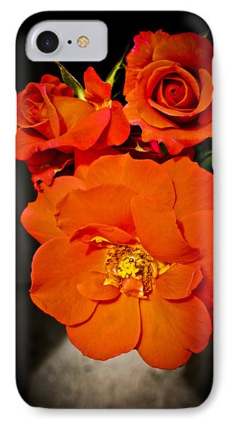 IPhone Case featuring the photograph Orange Rose Trio by Joann Copeland-Paul