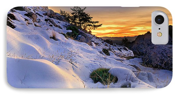 Orange Sunset At The Mountains Phone Case by Guido Montanes Castillo