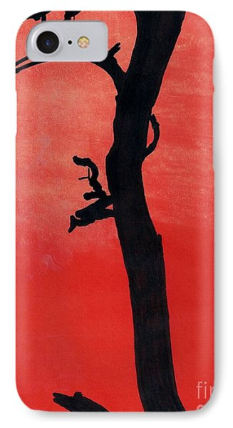 IPhone Case featuring the drawing Orange Sunset Silhouette Tree by D Hackett