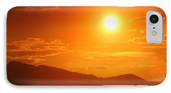 IPhone Case featuring the photograph Orange Sunset Over Mountains by Tracie Kaska