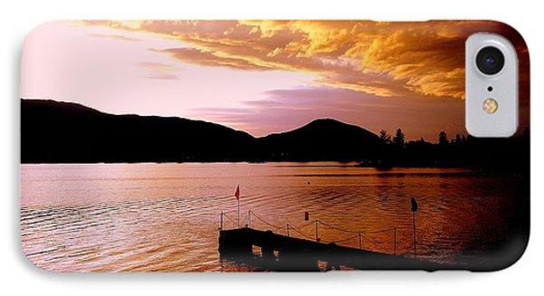 Orange Sunset Skaha Lake IPhone Case by Guy Hoffman