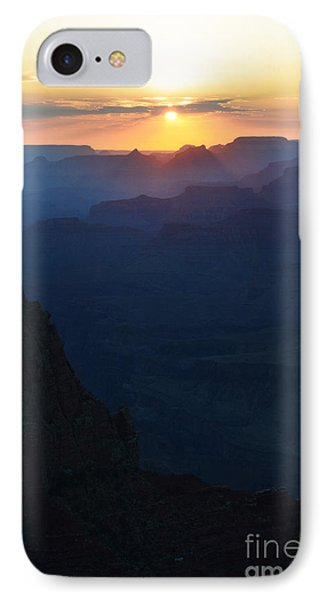 Orange Sunset Twilight Over Silhouetted Spires In Grand Canyon National Park Diffuse Glow Vertical IPhone Case by Shawn O'Brien