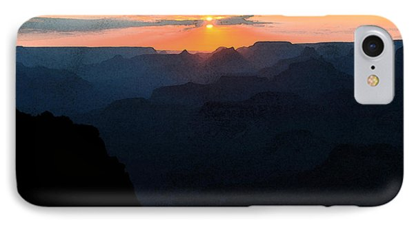 Orange Sunset Twilight Over Silhouetted Spires In Grand Canyon National Park Fresco IPhone Case by Shawn O'Brien
