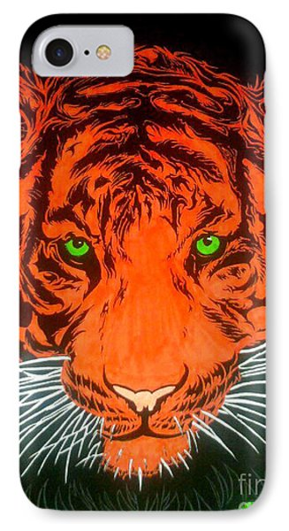 IPhone Case featuring the drawing Orange Tiger by Justin Moore