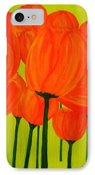 Orange Tulip Pops IPhone Case by Celeste Manning