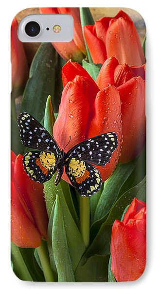 Orange Tulips And Butterfly Phone Case by Garry Gay