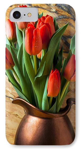 Orange Tulips In Copper Pitcher Phone Case by Garry Gay