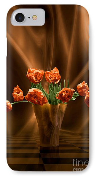 IPhone Case featuring the digital art Orange Tulips In Floating Room by Johnny Hildingsson