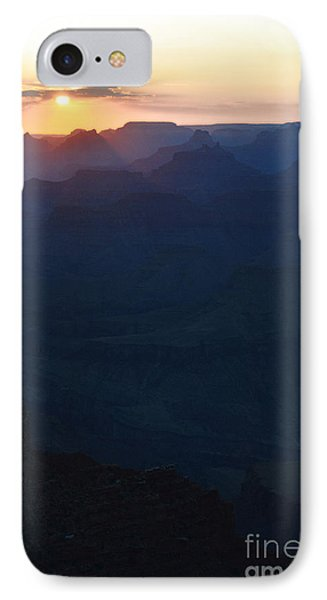 Orange Twilight Sunset Over Silhouetted Spires In Grand Canyon National Park Diffuse Glow Vertical IPhone Case by Shawn O'Brien