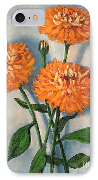 IPhone Case featuring the painting Orange Zinnias by Randol Burns