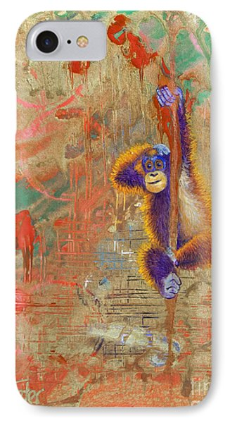 Orangutan Abstract Phone Case by Tracy L Teeter
