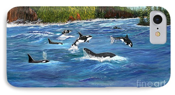 IPhone Case featuring the painting Orcas by Myrna Walsh