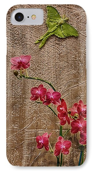 Orchids And Butterfly Phone Case by John Haldane