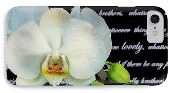Orchids And Scripture IPhone Case by Pattie Calfy