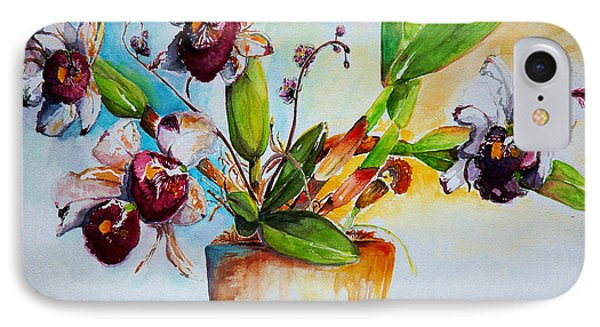 IPhone Case featuring the painting Orchids Of The Bay by Bernadette Krupa