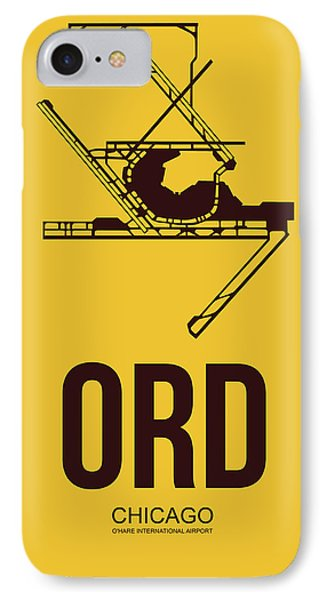 Ord Chicago Airport Poster 1 IPhone Case by Naxart Studio