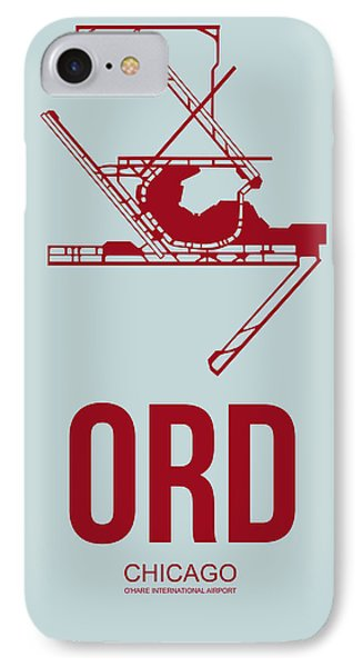 Ord Chicago Airport Poster 3 IPhone Case by Naxart Studio