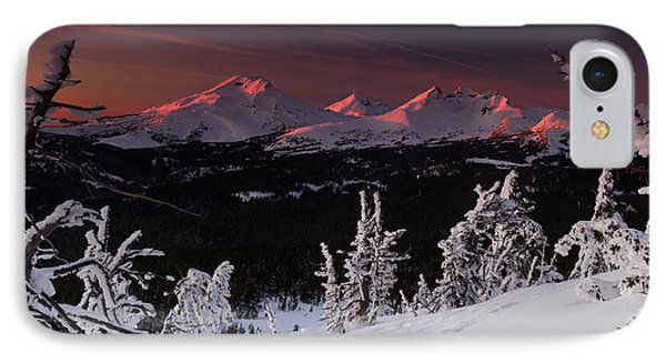 IPhone Case featuring the photograph Oregon Cascades Winter Sunset by Kevin Desrosiers