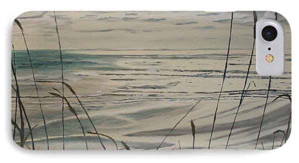 IPhone Case featuring the painting Oregon Coast With Sea Grass by Ian Donley