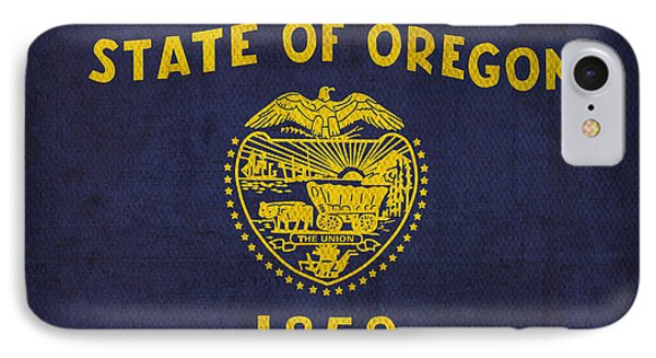 Oregon State Flag Art On Worn Canvas IPhone Case by Design Turnpike