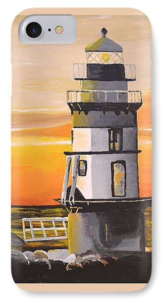 IPhone Case featuring the painting Orient Point Lighthouse by Donna Blossom