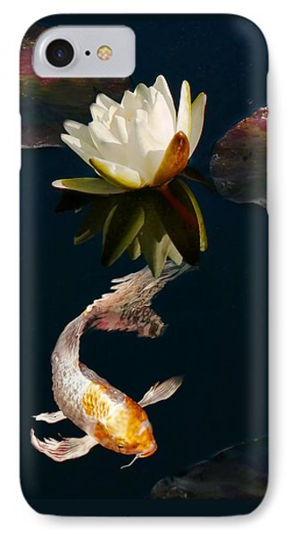 Oriental Koi Fish And Water Lily Flower Phone Case by Jennie Marie Schell