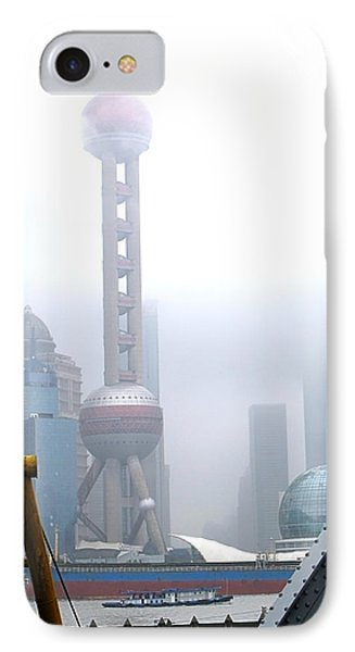 IPhone Case featuring the photograph Oriental Pearl Tower Under Fog by Nicola Nobile