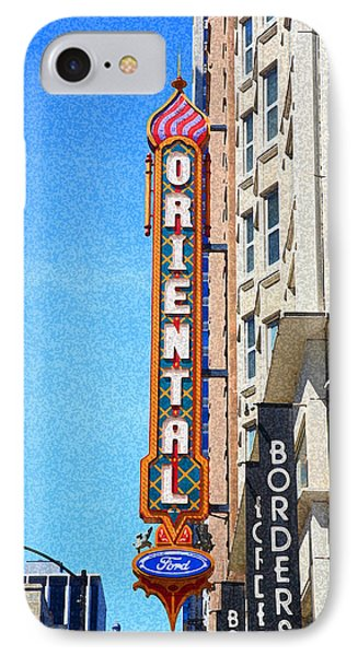 Oriental Theater With Sponge Painting Effect IPhone Case by Frank Romeo