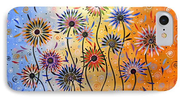 Original Abstract Modern Flowers Garden Art ... Explosion Of Joy IPhone Case by Amy Giacomelli